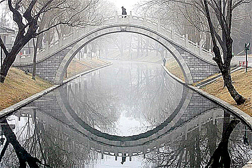 Mirrored reflections of a bridge