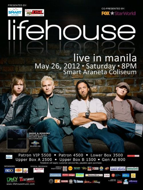 Never the Strangers will be the front act of Lifehouse at their concert this Saturday nite at the Smart Araneta!  Watch out for them! :)