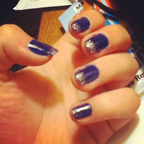 #nails #nail #glitter #blue #silver #makeup #nailart #pretty #girly not cleaned up yet but tis alright  (Taken with instagram)