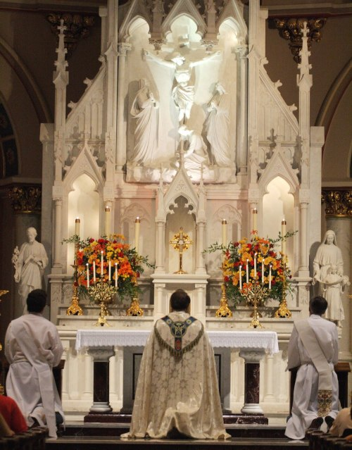 signum-crucis:  AdorationSt Joseph's Catholic Church, Macon, Georgia, USA O God, my God, to thee do I watch at break of day. For thee my soul hath thirsted; for thee my flesh, O how many ways! In a desert land, and where there is no way, and no water: so in the sanctuary have I come before thee, to see thy power and thy glory. For thy mercy is better than lives: thee my lips shall praise. Thus will I bless thee all my life long: and in thy name I will lift up my hands. —Psalm 62:2-5 (63)