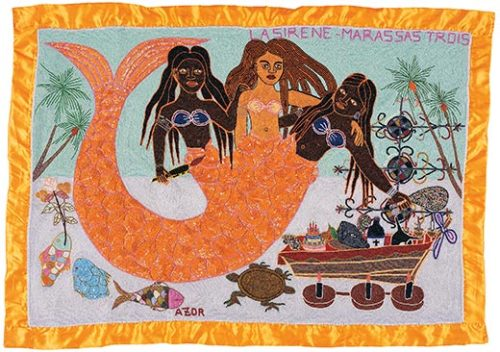 """ La Sirene — Marassas Trois ""  ….  Haitian Vodou Banner made with sequins and beads … Artist: Roudy Azor, 2006"