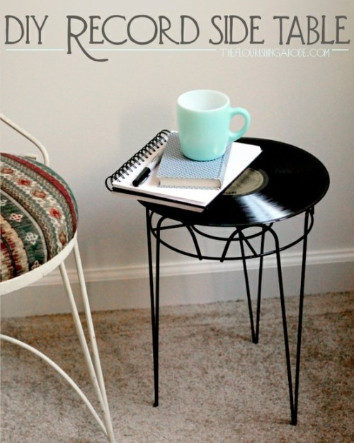 DIY Ridiculously Easy Vinyl Record Side Table. Why so easy? Because you are using one of those really cheap plant stands you see everywhere. This is such a clever idea and tutorial from The Flourishing Abode here.