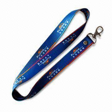 Promotional lanyard with custom logo Customized logo: silkscreen printing (heat transfer printed on our polyester lanyards are available)  Attachment can be badge Holder (PVC wallet), Rigid badge holder in transparent / in blue and and rigid badge holder with reel are also available MOQ: 100pcs per design. Color: silkscreen printing and color from Pantone book. There are 42 stock colors for polyester materials Various attachments for lanyards are optional. Delivery time: 7 - 12 days.
