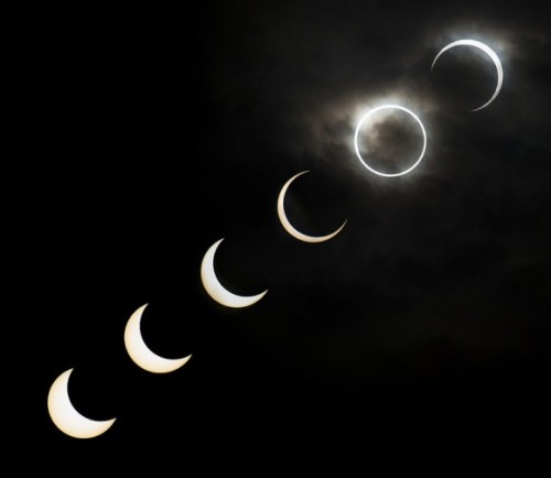 A montage of the May 20, 2012 annular eclipse as seen near Ikebukuro in Tokyo, Japan between 7:08 to 7:38 a.m. local time.
