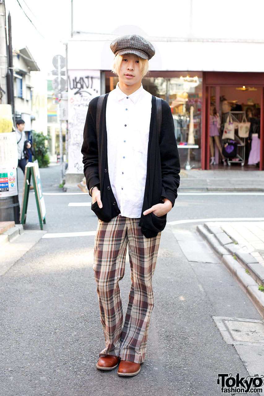 Blonde Harajuku guy with an outfit featuring items from several Tokyo resale shops.