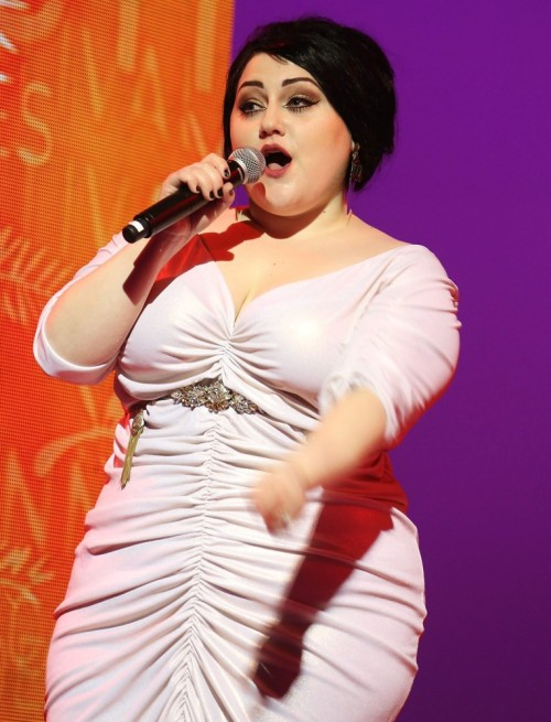 Beth Ditto performing at the opening ceremony of the 65th Cannes Film Festival. She wore a ruched dress and a Shourouk belt.