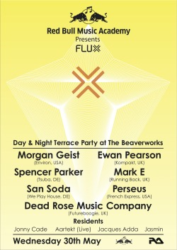 Red Bull Music Academy presents FLUX Day and night party at the Beaver Works, Leeds. This is a massive line up, and it will be my birthday at midnight. Just a bit excited.. Facebook event. Sold out.
