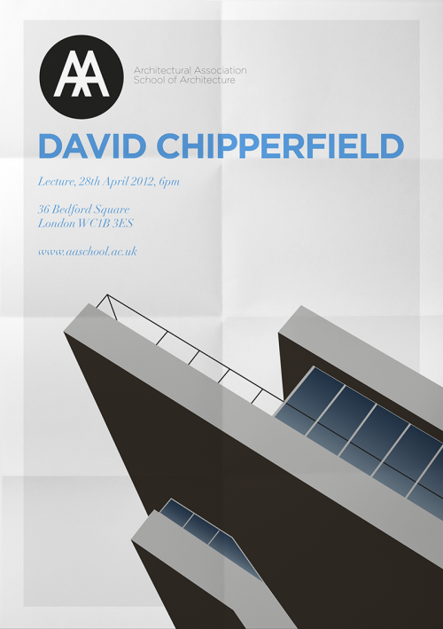 Flyer design concept for a lecture by British architect David Chipperfield at the AA School.