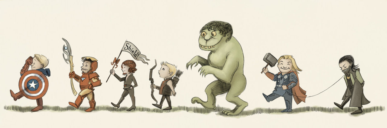 Wallpaper: The Avengers on Parade in Maurice Sendak style by Agarthan Guide on deviantART