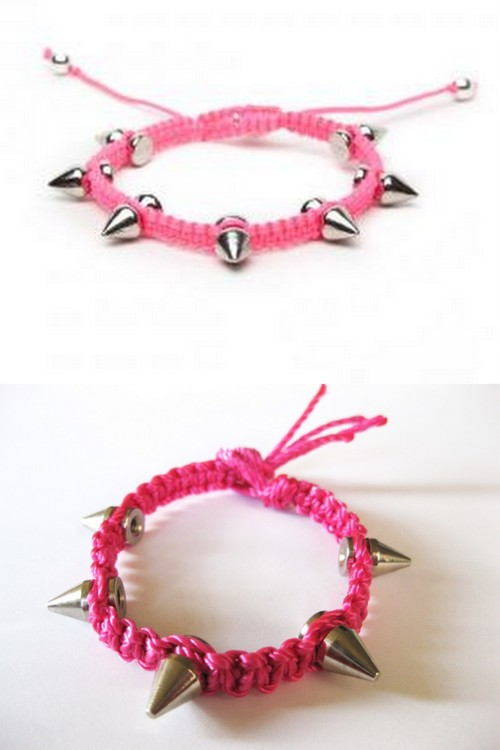 DIY Knockoff Devora Libin Phoebe Spiked Macrame Bracelet Tutorial. Top Photo: $100 Devora Libin Phoebe Spiked Macrame Bracelet here, Bottom Photo: DIY by Thanks, I Made it.The pink string came from the hardware store which of course I love. Tutorial by Thanks, I Made It here.