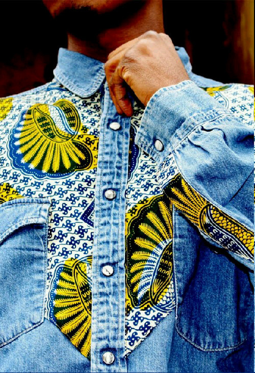 Bukki Label Denim shirt with African Fabric Detailing