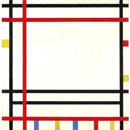 "ptk:  Piet Mondrian (Dutch, 1872-1944). Boogie Woogie, 1941. Oil on canvas. Initialed LL and dated LR. Additionally signed ""Piet Mondrian, 1941-1942, New York"" on the stretcher."