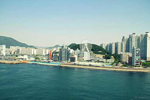 View of Gwangalli mini amusement park Taken from the Diamond Bridge in Busan, South Korea. May 2012.