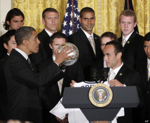 "Best so far: ""Please don't hold it like a basketball"" Obama Photo Caption Contest: President Shoots Soccer Ball"