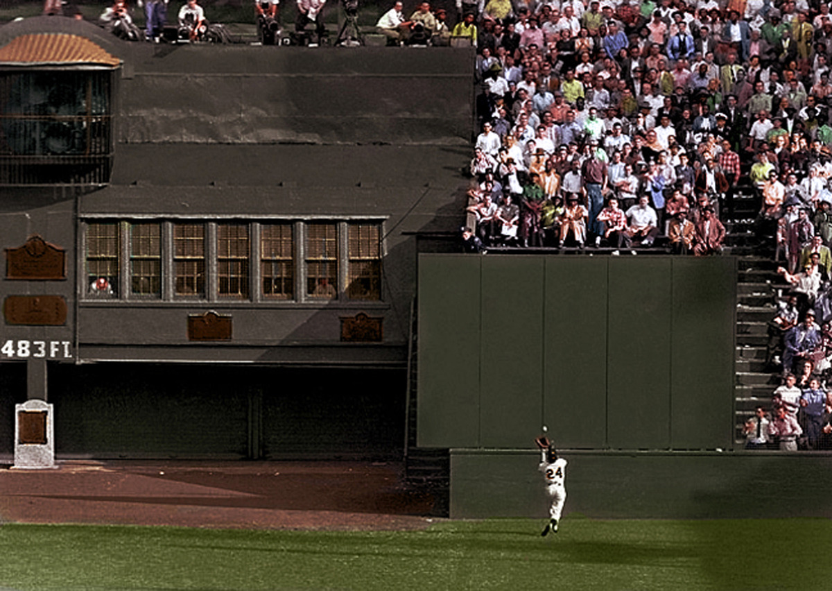 mightyflynn:  Say Hey! The Catch, 1954 Original photo by NY Daily News, colorized by John Turney for Uni-Watch