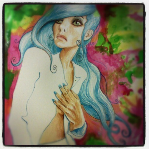 #ink #paint #painting #paper #psychedelic #portrait  (Taken with instagram)