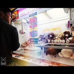 UFO catcher in Namba, Osaka (Japan) #crane #teddy #bear #osaka #namba #japan #minami #underground #streetphotography #night  (Taken with instagram)