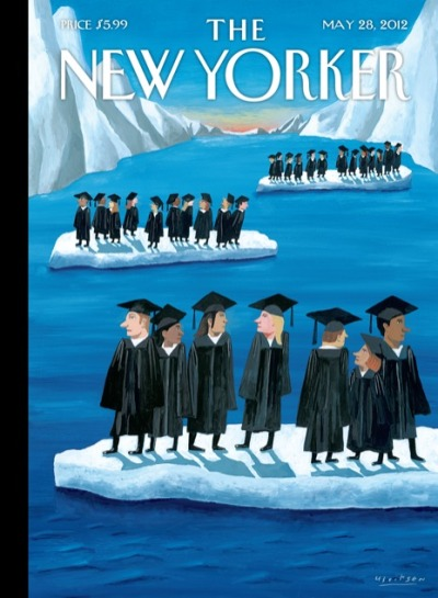"newyorker:  Click-through to find out the story behind this week's cover ""Adrift"" by Mark Ulriksen, and for a slideshow of past New Yorker covers about graduation: http://nyr.kr/Kr4ST7"