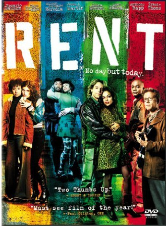 "gazellefamily:  RENT (2005)""I know I'm an adult now because when I watched this I sided with Taye Diggs, the pragmatic landlord who, y'know, want his tenants to pay the fucking rent. They're all like, 'But we're aaaarrtists!' Get a job! And the funny thing is, everything they think is so bohemian about their lifestyle is pretty mainstream now with yoga, photography, and coffee. The only cool thing left is… AIDS?""-Dick Gazelle   First off, that review is perfect. Second, it was great that they kept some of the original Broadway cast, but them being ten years older just makes the whole thing ten years sadder. I really liked the play in high school, but the older I get, the more I'm like, ""dude, you can be an artist and still work at a Starbuck's or something."" Also, the fact that Maureen was only kind of a lesbian always bothered me. You got the gay couple and the straight couple, who are both dealing with AIDS and other serious issues, and then the wacky lesbian couple who are only dealing with the fact that one of them kind of likes dick."