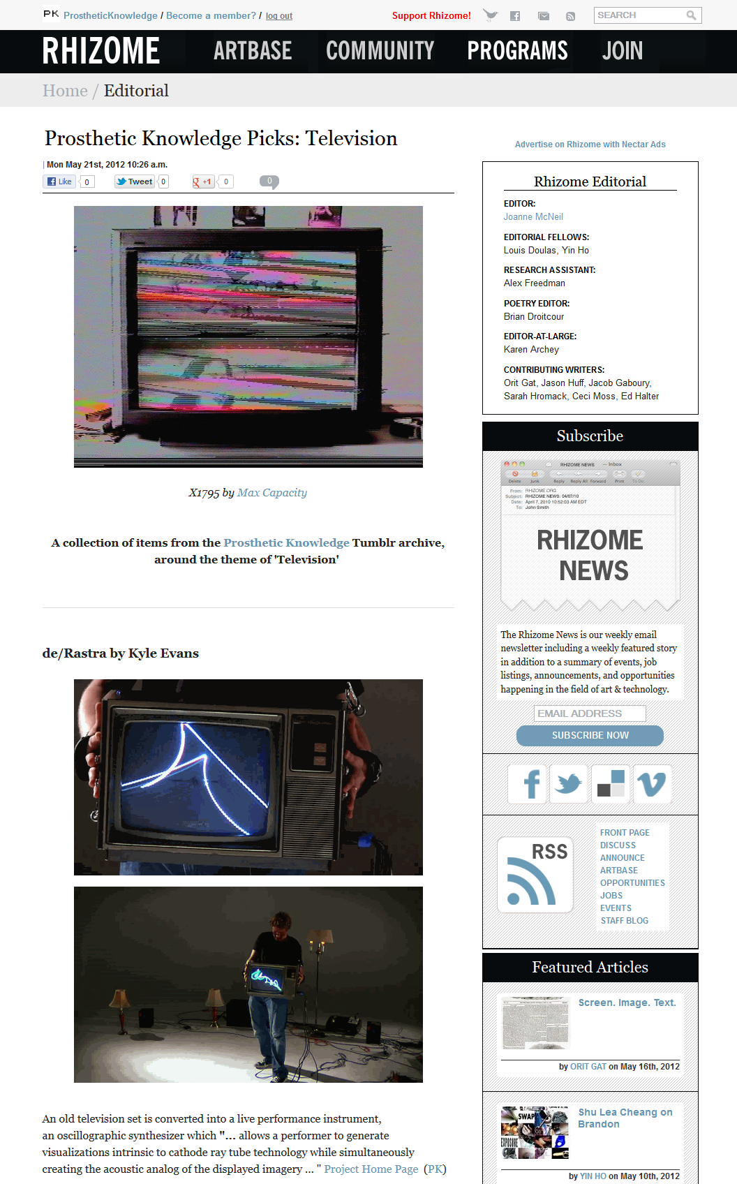 Prosthetic Knowledge Picks: Television A piece I have contributed to Rhizome, a small selection of items from this blog's archive related to the theme of 'Television'. You can see the whole post here