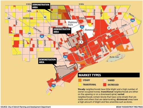 The Detroit Works Project Long-Term Planning released this graphic displaying Detroit neighborhood conditions, based on economy, physical condition, people, and more. What does this graphic say about these neighborhoods? What decisions can really be made based on this?