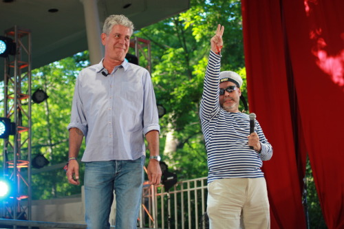Anthony Bourdain and his Russian sidekick Zamir take questions from the crowd at the Great GoogaMooga.