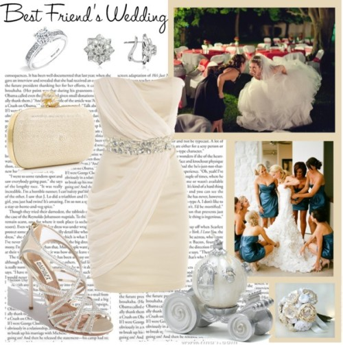 My Best Friend's Wedding by bubbly13 featuring diamond wedding ringsAX Paris evening party dress, £30Badgley Mischka high heels, $325Alexander McQueen leather handbag, $1,802Incanto Royale gold jewelry, $15,900Bony Levy diamond wedding ring, $2,835Cinderella Wedding Carriage CandleIvory, Off White and Cream Silk Catala and Jeweled Bloom Bridal…, $1,200