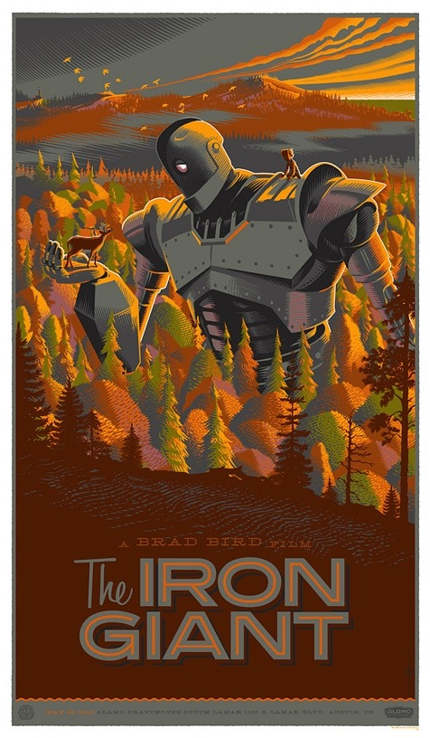 fuckyeahsciencefiction:  Laurent Durieux's The Iron Giant poster.  Love this movie.