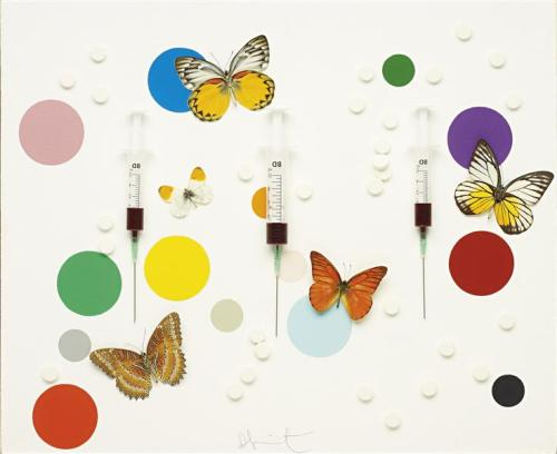 Damien Hirst, happiness, 2008 Syringe butterflies pills resin and household gloss paint on canvas