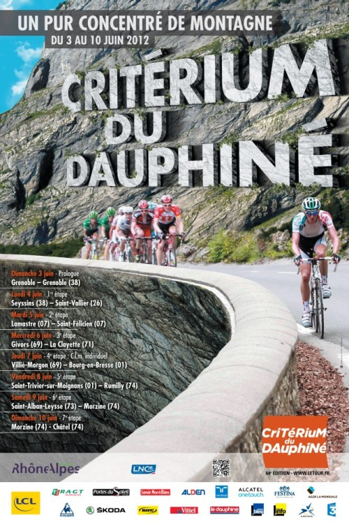"Poster for the 2012 Criterium du Dauphiné stage race which starts on 3 June. The slogan is ""a pure concentrate of mountains""."