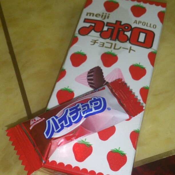After massage… should i eat this candy and strawberry flavored chocolates? Ahehe (Taken with instagram)