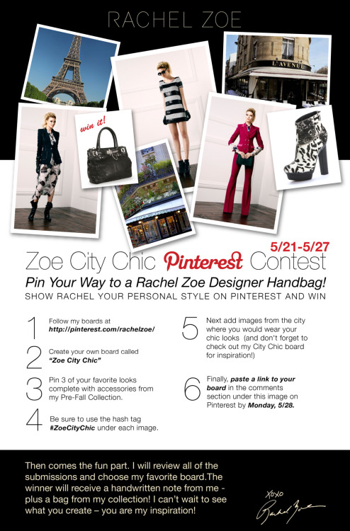 rachelzoe:  Help me celebrate the the launch of my Pinterest page by showing me your style! Click here for full contest rules.