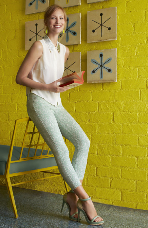 an embellished collar and mint jeans…two of our favorite spring trends in one outfit… 7 For All Mankind | mint green lace-print skinny jean, 189.00 | Bloomingdales.com Cynthia Steffe | studded collar blouse, 195.00 | Bloomingdales.com