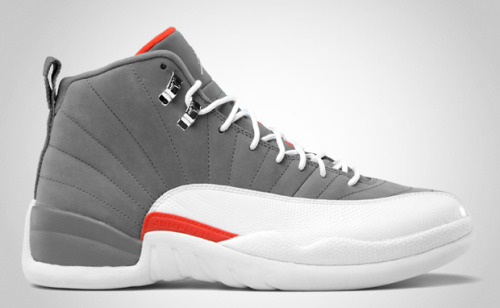 "AIR JORDAN XII ""COOL GREY"" In case you missed it because midnight releases are all but illegal anymore, the Cool Grey Air Jordan XII dropped this past weekend. At $160, the rerelease features a Bobcats-esque colorway. But don't let that turn you off, because the cool grey across the majority of the base blends well with the team orange details in the side and tongue borders. You should still be able to find the sneakers online or in store."