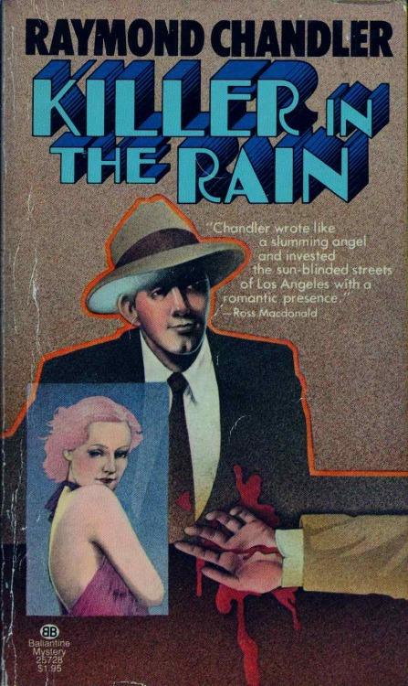 "KILLER IN THE RAIN is an interesting collection of Raymond Chandler stories.  Chandler used to ""cannibalize"" his old stories for plots and narrative for later novels. KILLER includes all the stories that later got picked apart for his more famous books. The collection includes: The Killer in the Rain; The Man Who Liked Dogs; Try the Girl; Mandarin's Jade; Bay City Blues; The Lady in the Lake; No Crime in the Mountains. Ballantine, 1972."