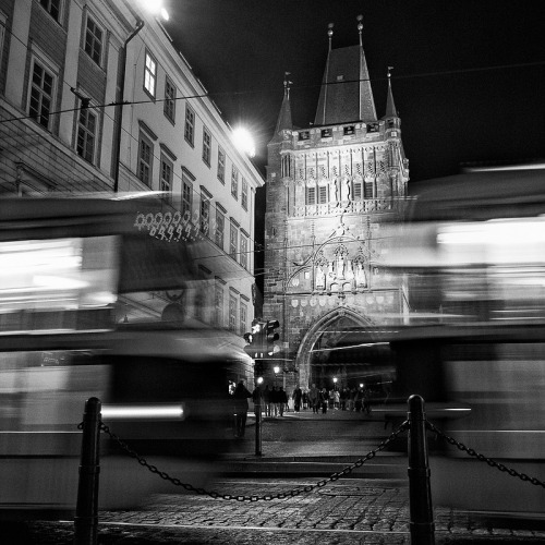 Prague History and Present Charles bridge (built in 1357) and tram By: eiffair