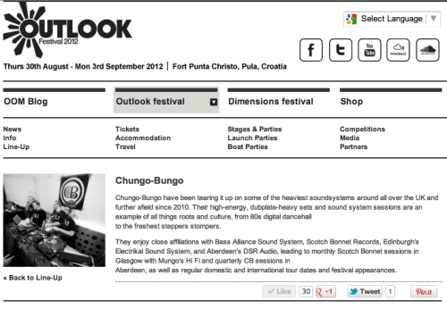 We're delighted to confirm our appearance at Outlook Festival this August in Pula, Croatia.Outlook's considered by many to be the best bass music festival in the world, and after looking at this years line up it's hard to argue with that. We'll be nicing up the Mungo's courtyard, set time TBA.Reggae is the music._____________________Outlook Festival on FacebookOutlook Festival on TwitterOutlook Festival on Tumblr