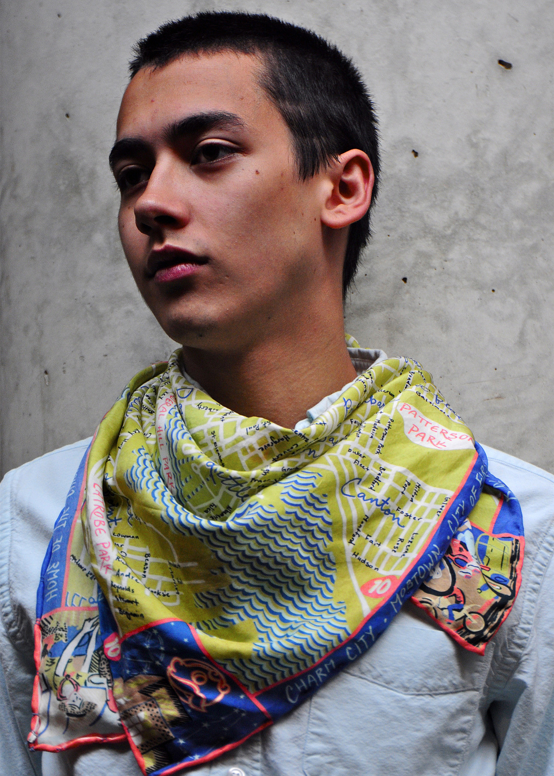 """Baltimore Thesis Map"" scarf- photo by Erik Puot"