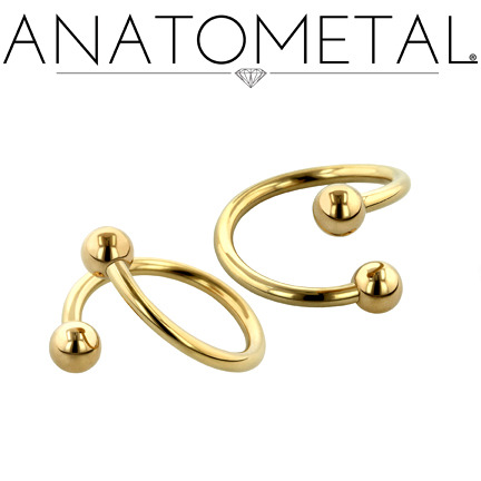 16ga Twisters in solid 18k yellow gold