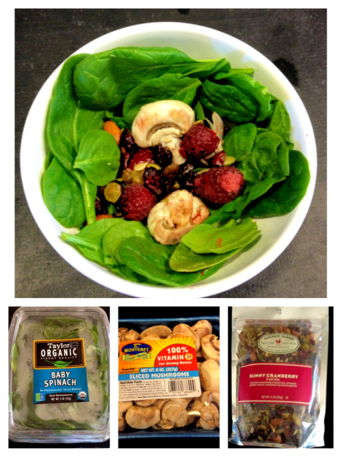 My lunch: fresh spinach, mushrooms, sunny cranberry trail mix and raspberries.  I would just like to point out how effective this blog has been on my eating habits.. I feel compelled to create beautiful, healthy little meals so I can post them on here. When I eat something processed, like a pop tart or whatever, I feel guilty. So thanks for being my inspiration hahah.