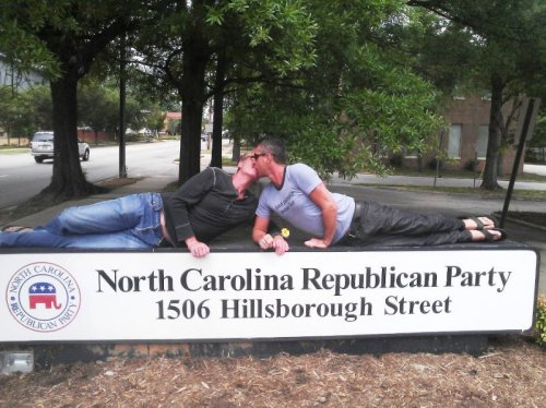 The Perfect Response to North Carolina Make love, not war (on marriage).