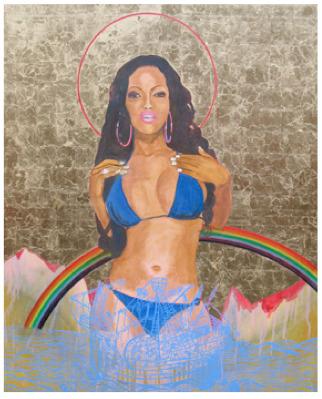 Godfried Donkor Browning Madonna with Rainbow, 2010 mixed media collage, painting