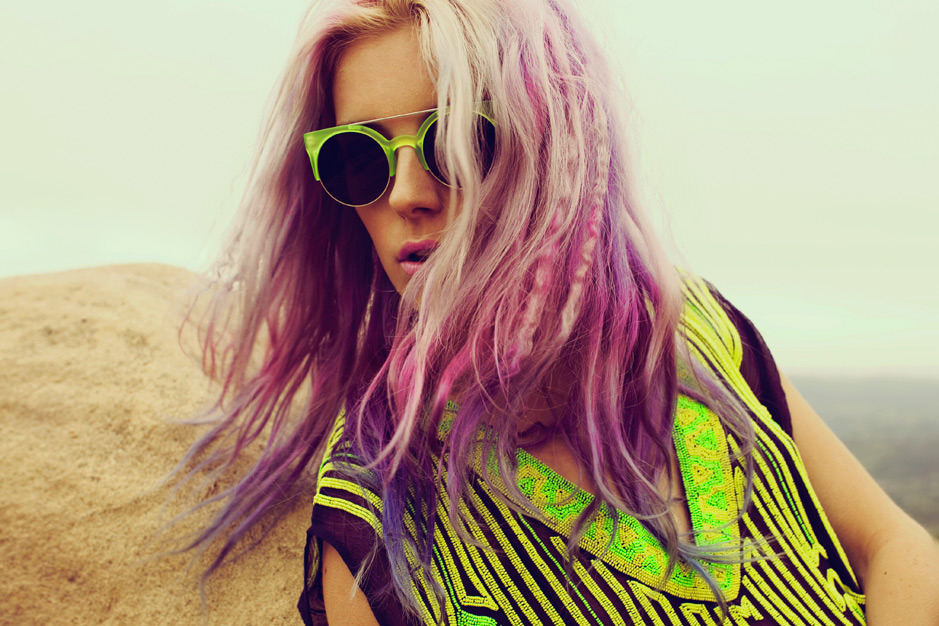 wgsn:  Planet Blue's Space Lotus lookbook brings neon to the desert.