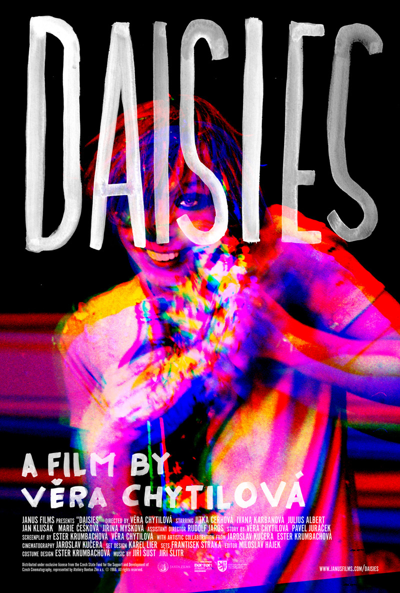 The new Janus Films poster for Vera Chytilová's 1966 film DAISIES.