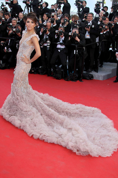 Feathers and fishtails! Despite the seemingly animal-like theme at the Cannes Film Festival this year, some stood out from the pack like Eva Longoria in Marchesa.