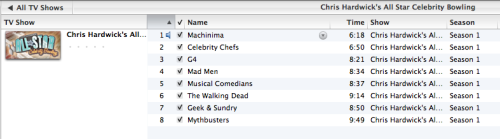 I'm totally not hoarding episodes of Chris Hardwick's All Star Celebrity Bowling just in case there is some sort of problem and every episode is somehow removed from the internet. That would be crazy. (I also don't marathon them after every new episode on Mondays)