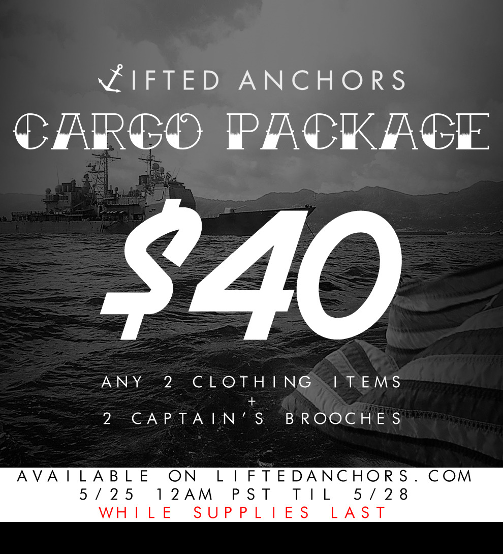 liftedanchors:  Cargo Package! Available at LiftedAnchors.com on 5/25 12AM PST til 5/28. Limited supply. Don't sleep! REBLOG! Spread the word.