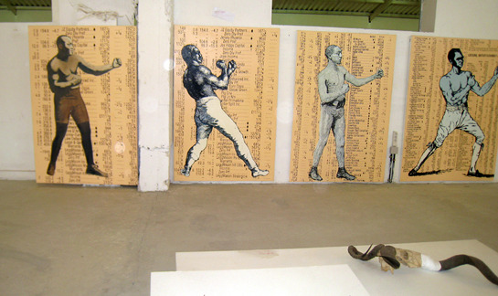 Godfried Donkor Olympians IV, 2003 mixed media installation shot at 3rd World Festival of Black Arts and Culture