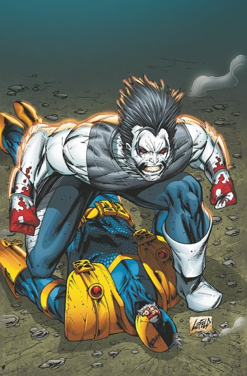 Deathstroke loses to Lobo on the cover to Deathstroke #11 from DC.