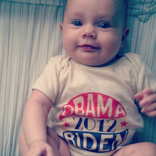 raisingraegan:  he's got her vote #obama2012 (Taken with instagram)  SO CUTE!!!!